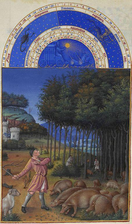 """Το Καλαντάρι του Νοέμβρη από τον Πώλ και Ζαν ντε Λεμπούρ , σελίδες από τις """"Πολύ πλούσιες ώρες"""", ζωγραφισμένες (περ. 1410) για τον Δούκα του Berry Μουσείο Κοντέ, Σαντιγύ"""
