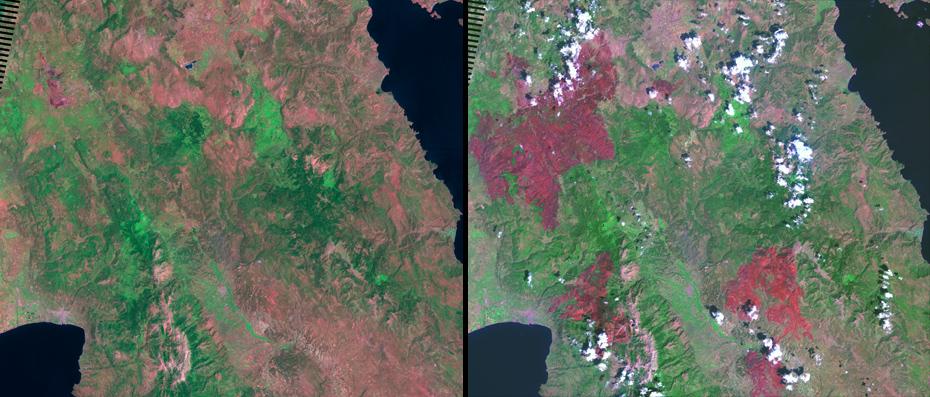 Πελοπόννησος:  Πριν και μετά από τις 170 φονικές πυρκαγιές της 28ης Αυγούστου 2007.