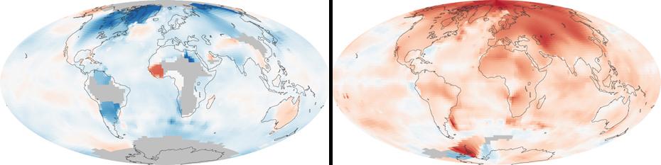 Η μεταβολή της θερμοκρασίας παγκοσμίως. Αριστερά: 1880-1889. Δεξιά: 2000-2009.