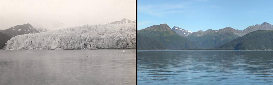 Λιώσιμο πάγων στην Αλάσκα.  Αριστερά: 30 Ιουλίου 1909. Δεξιά: 11 Αυγούστου 2004