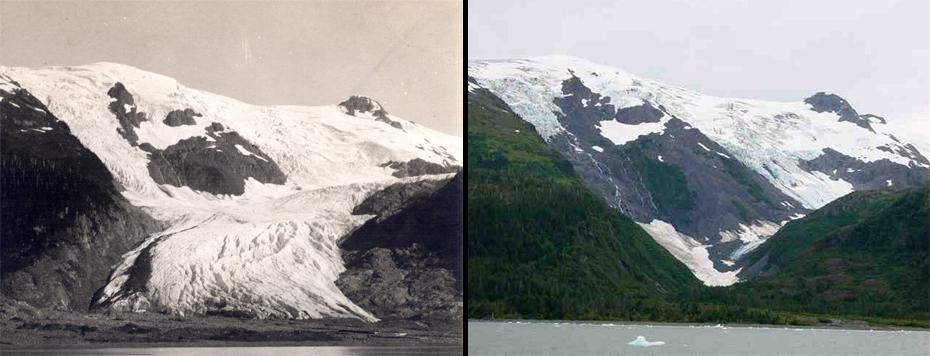 Πάγοι στην Αλάσκα.  Αριστερά: 29/6/1909. Δεξιά: 4/9/2000.