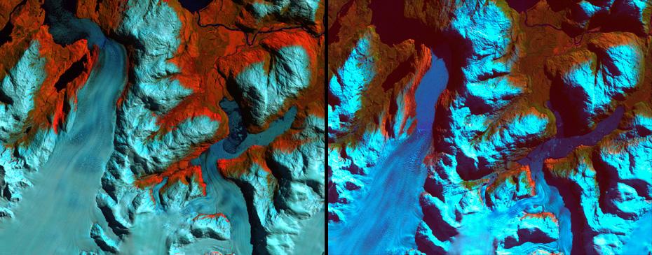 Παταγονία, Χιλή.   Αριστερά: 18/9/1986. Δεξιά: 5 /8/2002. Το 1986 η εικόνα δείχνει την περιοχή πριν από την  σημαντική υποχώρηση των παγετώνων. Το 2002 η υποχώρηση  φτάνει σχεδόν τα 10 χιλιόμετρα