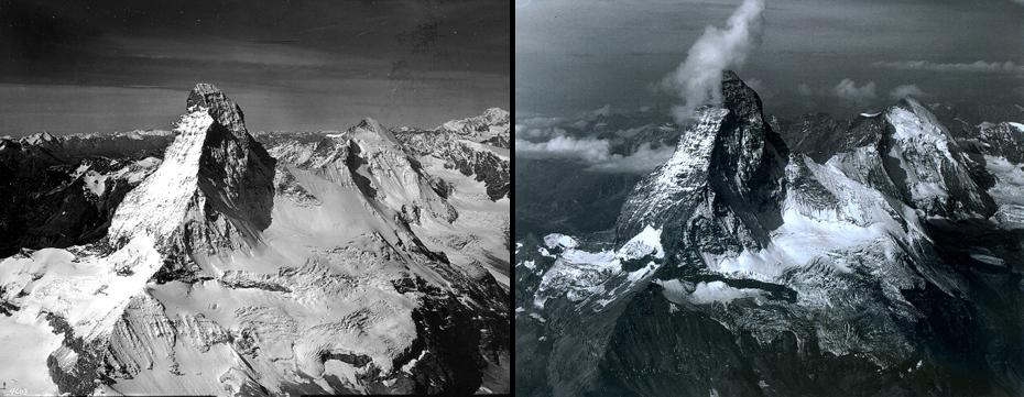 Το βουνό Matterhorn, που βρίσκεται στις Άλπεις, στα σύνορα μεταξύ Ιταλίας και Ελβετίας. Αριστερά: 16/8/1960. Δεξιά: 18/8/2005