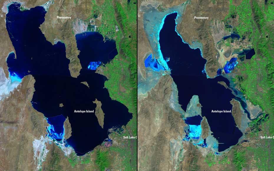 Δραματική συρρίκνωση τα τελευταία 25 χρόνια της λίμνης Great Salt στην Γιούτα. Αριστερά: Αυγούστος 1985. Δεξιά: Σεπτέμβριος 2010.