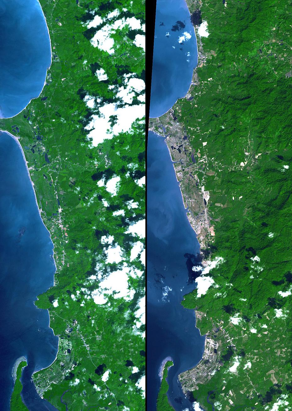 Τσουνάμι, Ταϊλάνδη, 2004. Περισσότεροι από 4.300 άνθρωποι σκοτώθηκαν, ενώ χιλιάδες αγνοούνται. Αυτές οι εικόνες δείχνουν ένα τμήμα της ακτής. Οι παράκτιες περιοχές εμφανίζονται γκρι όπου η βλάστηση καταστράφηκε.