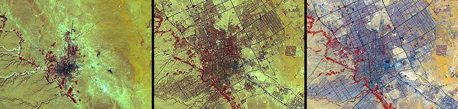 Η αστική ανάπτυξη στη Σαουδική Αραβία.  Αριστερά: 1972. Μεσαία: 1990. Δεξιά: 2000. Κατά τη διάρκεια αυτής της περιόδου, ο πληθυσμός της αυξήθηκε από περίπου μισό εκατομμύριο σε περισσότερα από δύο εκατομμύρια.