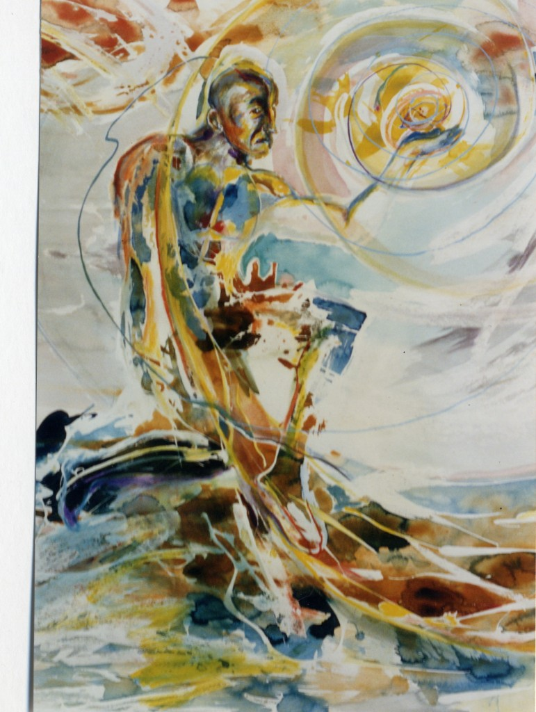 Abstract-Art-Media-Watercolor-Title-man-and-water-38-x-48-