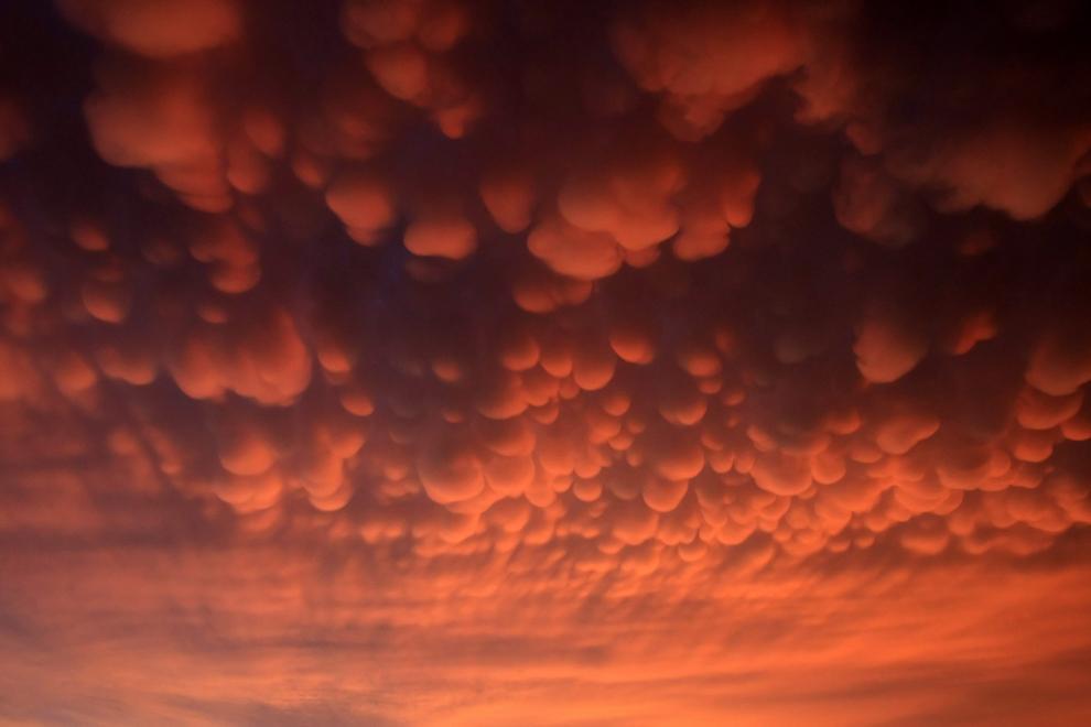 σύννεφα θύελλας πάνω από το Gorzow Wielkopolski, Πολωνία.