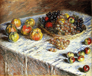 Still life of apples and grapes-Claude Monet