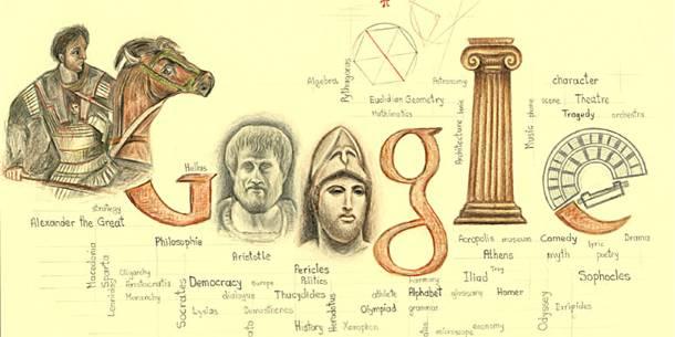 """Φιναλίστ Λυκείου.  ΕΛΕΖΙ ΓΚΕΡΑΛΝΤ, 1ο Γενικό Λυκείο Κομοτηνής. """"Οι επιστήμες, η πολιτική, η φιλοσοφία, οι τέχνες, το θέατρο και η αρχιτεκτονική ξεκίνησαν ως όραμα και υλοποιήθηκαν στην αρχαία Ελλάδα. Μεγάλες και πασίγνωστες μορφές στους παραπάνω τομείς είναι π.χ. ο Μ. Αλέξανδρος, ο Αριστοτέλης, ο Περικλής, τους οποίους έχω ζωγραφίσει. Το σχέδιο μου είναι εμπνευσμένο από τον αρχαίο ελληνικό πολιτισμό που με τις αξίες και τις ιδέες του φώτισε την ανθρωπότητα και έθεσε τα θεμέλια του Δυτικού πολιτισμού."""""""
