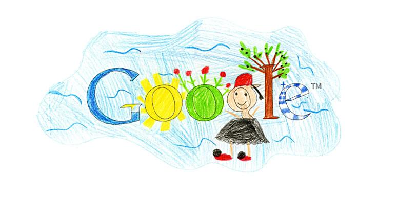 """ΕΙΡΗΝΗ ΚΥΛΙΤΗ, 6ο Δημοτικό Σχολείο Παλλήνης. """"Μέσα στη ζωγραφιά μου υπάρχουν: μια λίμνη που μέσα της έχει μια θάλασσα, έναν ήλιο, έναν κήπο με λουλούδια, έναν τσολιά, μια ελιά και την Ελληνική μας σημαία"""""""