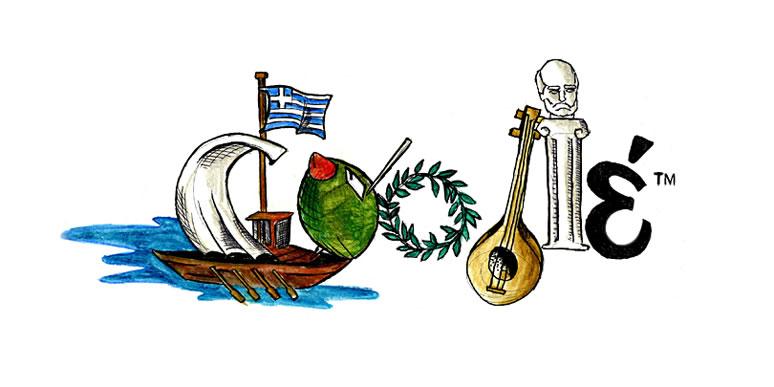 """ΑΓΓΕΛΙΚΗ ΣΚΟΡΟΧΟΝΤ , 1ο Γυμνάσιο Σταυρούπολης (Θεσσαλονίκη). """"Το καράβι σχετίζεται άμεσα με την Ελλάδα και με τον θαλασσινό χαρακτήρα της. Η ελιά είναι μέρος της μεσογειακής διατροφής. Το στεφάνι αντιπροσωπεύει τους Ολυμπιακούς αγώνες. Το άγαλμα μας θυμίζει την σοφία και τον περίφημο ποιητή Όμηρο. Το μπουζούκι είναι οι παραδώσεις και το ελληνικό 'έ' τα γράμματα."""""""