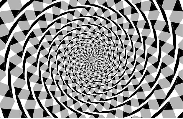 Είναι απλά μια σειρά από ομόκεντρους κύκλους, γνωστό ως ψευδαίσθηση Spiral Fraser, πρώτα είδαμε το 1908.