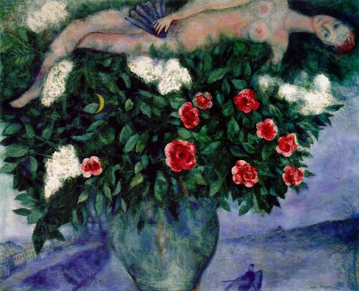 La femme et les roses