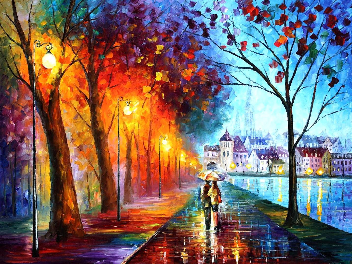 Leonid Afremov - CITY BY THE LAKE