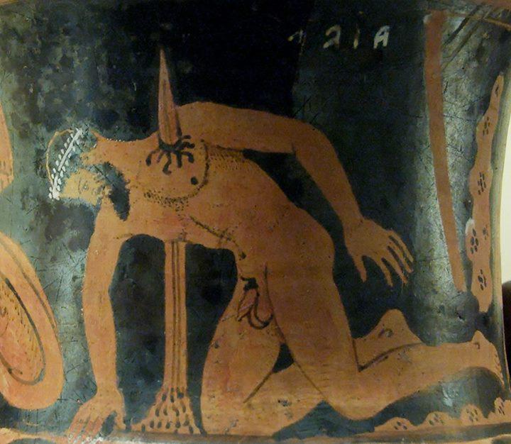 """""""Η αυτοκτονία του Αίαντα"""", ερυθρόμορφος κάλυκας-κρατήρας Ετρουσκικού ρυθμού 400-350 π.Χ. (Βρετανικό Μουσείο)."""