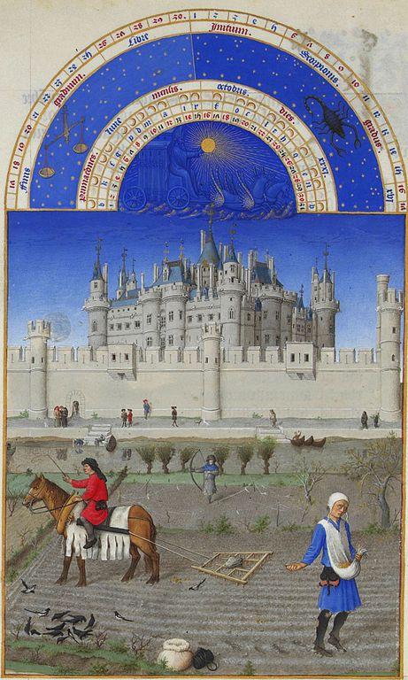 """Το Καλαντάρι του Οκτώβρη από το Πώλ και Ζαν ντε Λεμπούρ , σελίδες από τις """"Πολύ πλούσιες ώρες"""", ζωγραφισμένες (περ. 1410) για τον Δούκα του Berry Μουσείο Κοντέ, Σαντιγύ"""