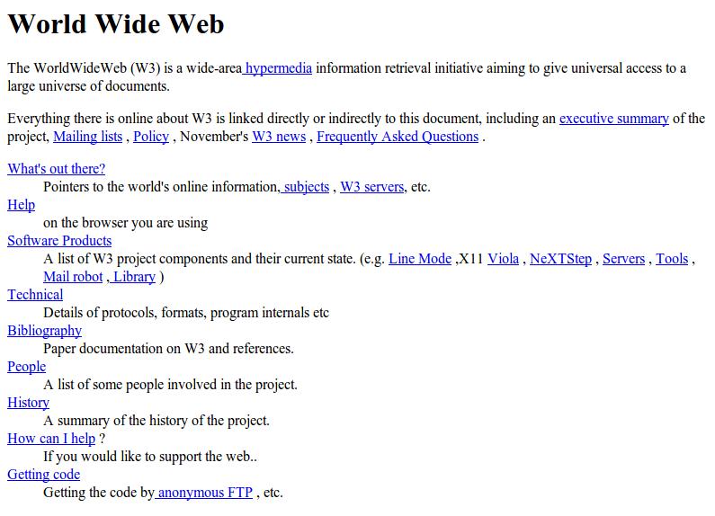 Η πρώτη ιστοσελίδα του κόσμου, στο CERN το 1991 (http://info.cern.ch/hypertext/WWW/TheProject.html)