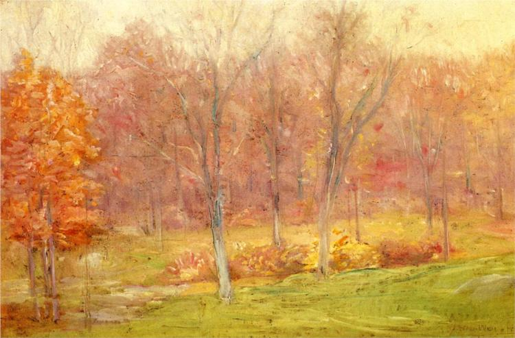 φθινοπωρινή βροχή Julian Alden Weir 1890