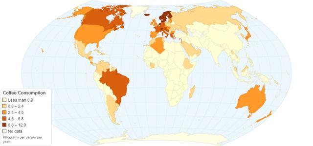 Γράφημα με την κατανάλωση καφέ ανά χώρα του κόσμου