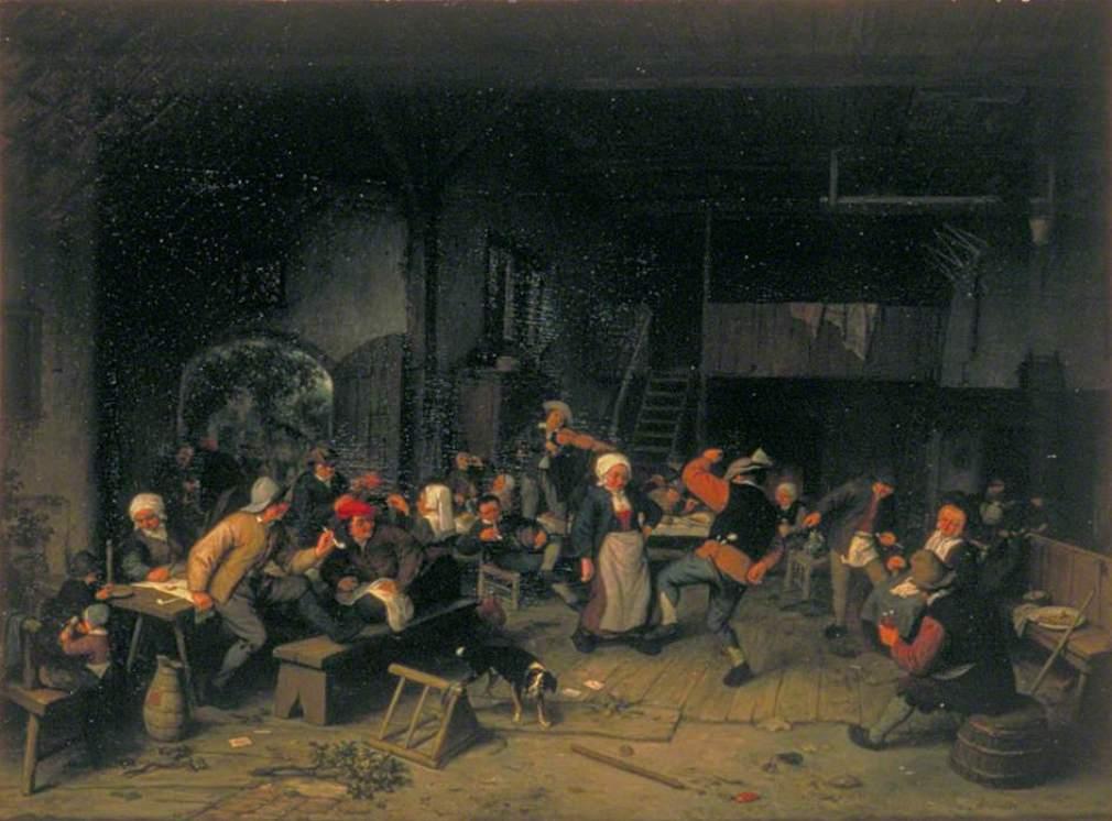 Χωρικοί χορεύοντας σε μια ταβέρνα - Adriaen van Ostade - circa 1675