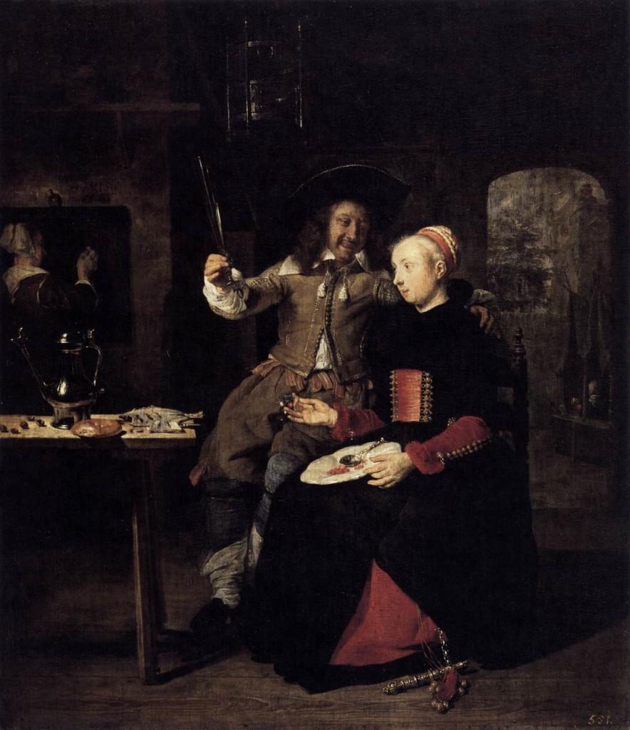 Πορτραίτο του καλλιτέχνη με τη γυναίκα του Isabella de Wolff σε μια ταβέρνα - Gabriel Metsu - 1661