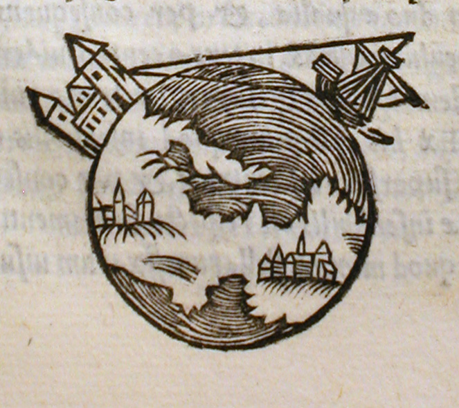 old ancient drawing of a round earth