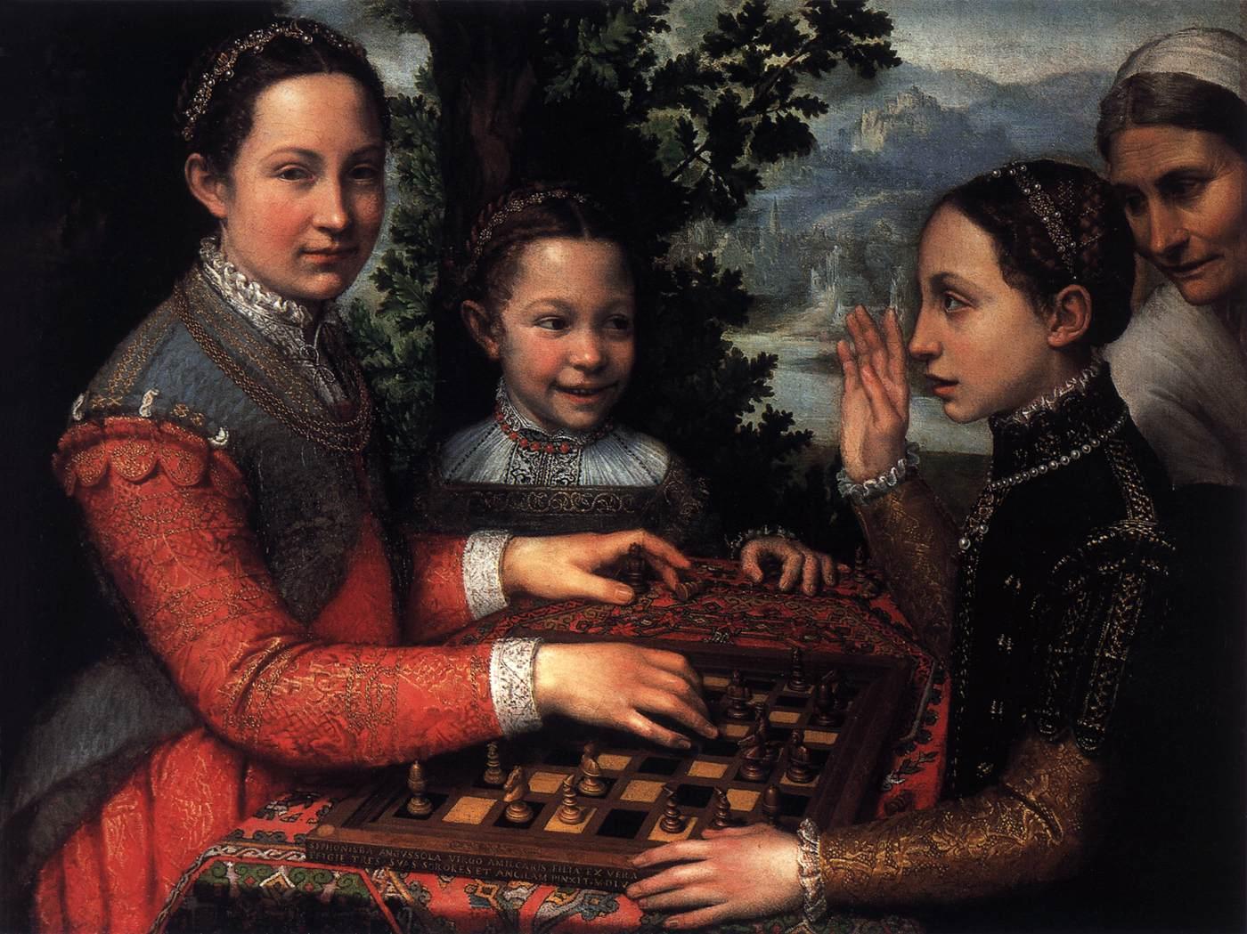 Sofonisba ANGUISSOLA - Πορτρέτα από τις αδερφές του καλλιτέχνη να παίζουν σκάκι  1555