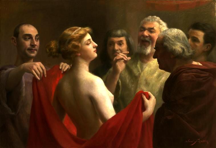 Φρύνη του José Frappa. Η Φρύνη απεικονίζεται με προτεταμένα τα στήθη της ενώπιον των ενόρκων.
