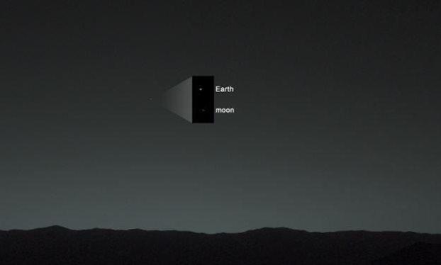 Η θέση της Γης και της Σελήνης στον ουρανό του Άρη. Credit :(NASA)