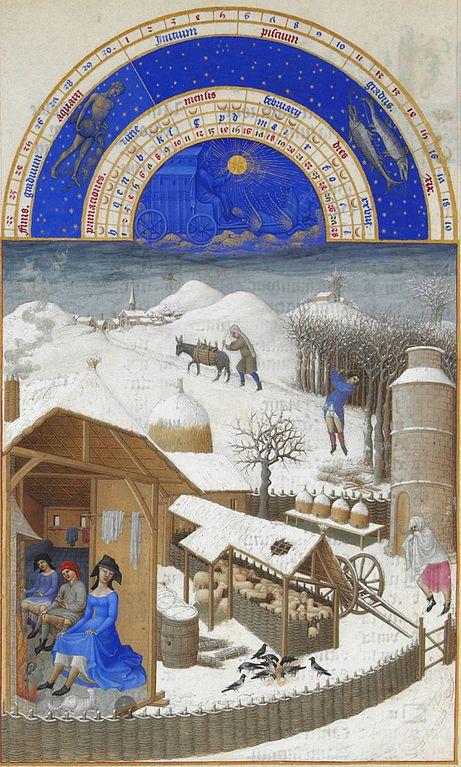 """Το Καλαντάρι του Φλεβάρη από τον Πώλ και Ζαν ντε Λεμπούρ , σελίδες από τις """"Πολύ πλούσιες ώρες"""", ζωγραφισμένες (περ. 1410) για τον Δούκα του Berry Μουσείο Κοντέ, Σαντιγύ"""