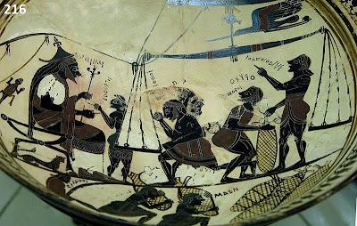 Βασικό έσοδο για την αρχαία Αθήνα ήταν οι φόροι από τα εισαγόμενα και εξαγόμενα προϊόντα. Πόσω δε μάλλον όταν επρόκειτο για σπάνια και πολύτιμα φορτία, όπως αυτό που απεικονίζεται να ζυγίζεται στο αγγείο, το σίλφιο (βότανο με θεραπευτικές ιδιότητες που εφύετο στην Κυρηναϊκή). Στην κύλικα του 6ου αι. απεικονίζεται ο βασιλιάς Αρκεσίλαος με το σκήπτρο στο χέρι να παρακολουθεί το ζύγισμα, τη συσκευασία και την αποθήκευση του εμπορεύματος.