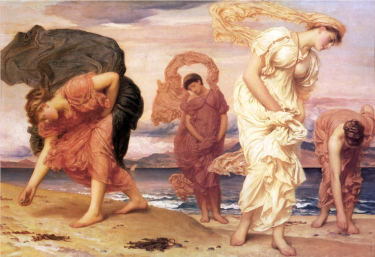κορίτσια μαζεύουν βότσαλα - Frederic Leighton