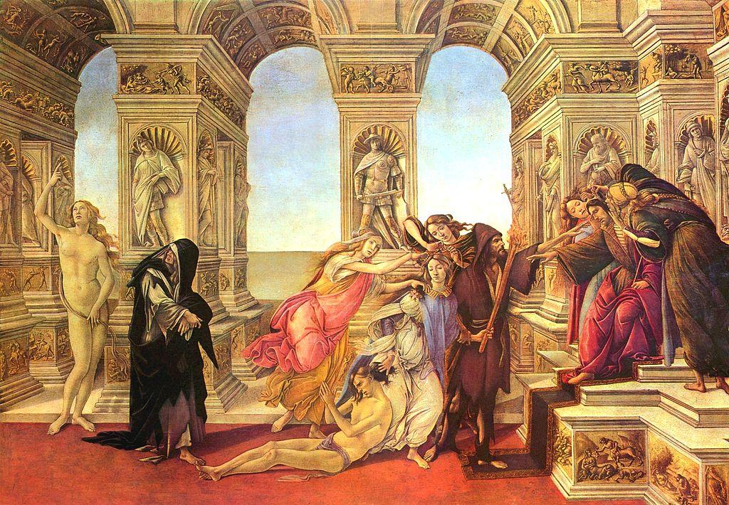 «Η Συκοφαντία του Απελλή», πίνακας του Σάντρο Μποτιτσέλι, Πινακοθήκη Ουφίτσι, Φλωρεντία (1494-1495). Αριστερά φαίνεται η Αλήθεια γυμνή.