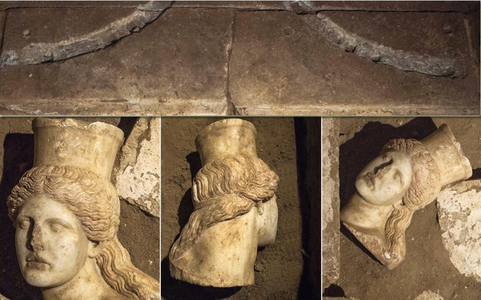 Το μαρμάρινο κεφάλι της ανατολικής Σφίγγας είναι το νέο, εντυπωσιακό εύρημα στην Αμφίπολη, προϊόν της ανασκαφικής δραστηριότητας σε όλη την επιφάνεια στο εσωτερικό του τρίτου χώρου και σε βάθος μέχρι 5,20 μ. από την κορυφή της θόλου. Αποκαλύφθηκε σε βάθος 0,15 μ. από την επιφάνεια του μαρμάρινου κατωφλίου, δηλαδή σε σημαντική απόσταση από την είσοδο του ταφικού μνημείου όπου βρίσκονται οι Σφίγγες. Ετσι οι αρχαιολόγοι βλέπουν να προστίθεται ένας ακόμα γρίφος στο ούτως ή άλλως δυσεπίλυτο αίνιγμα της Αμφίπολης, καθώς ενισχύεται η υπόθεση της «αρχαιοκαπηλικής» δραστηριότητας κατά την αρχαιότητα.