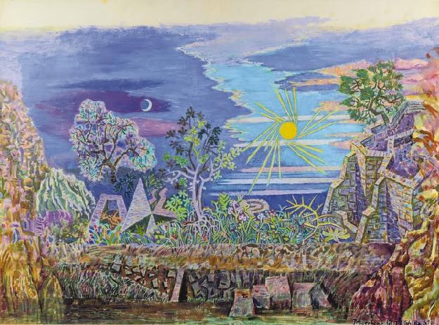 Νίκος Χατζηκυριάκος-Γκίκας (ΠΧΓ1890) «Το πρώτο πρωί του κόσμου» - Προσχέδιο για το σκηνικό της «Περσεφόνης», 1961