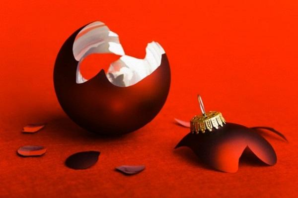 Broken red Christmas bauble