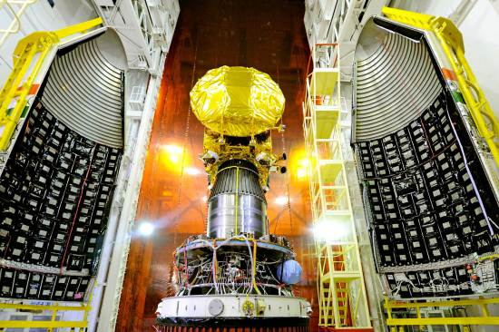 Mangalyaan, India's Mars Orbiter Mission, is prepared for its Nov. 5, 2013 launch into space.
