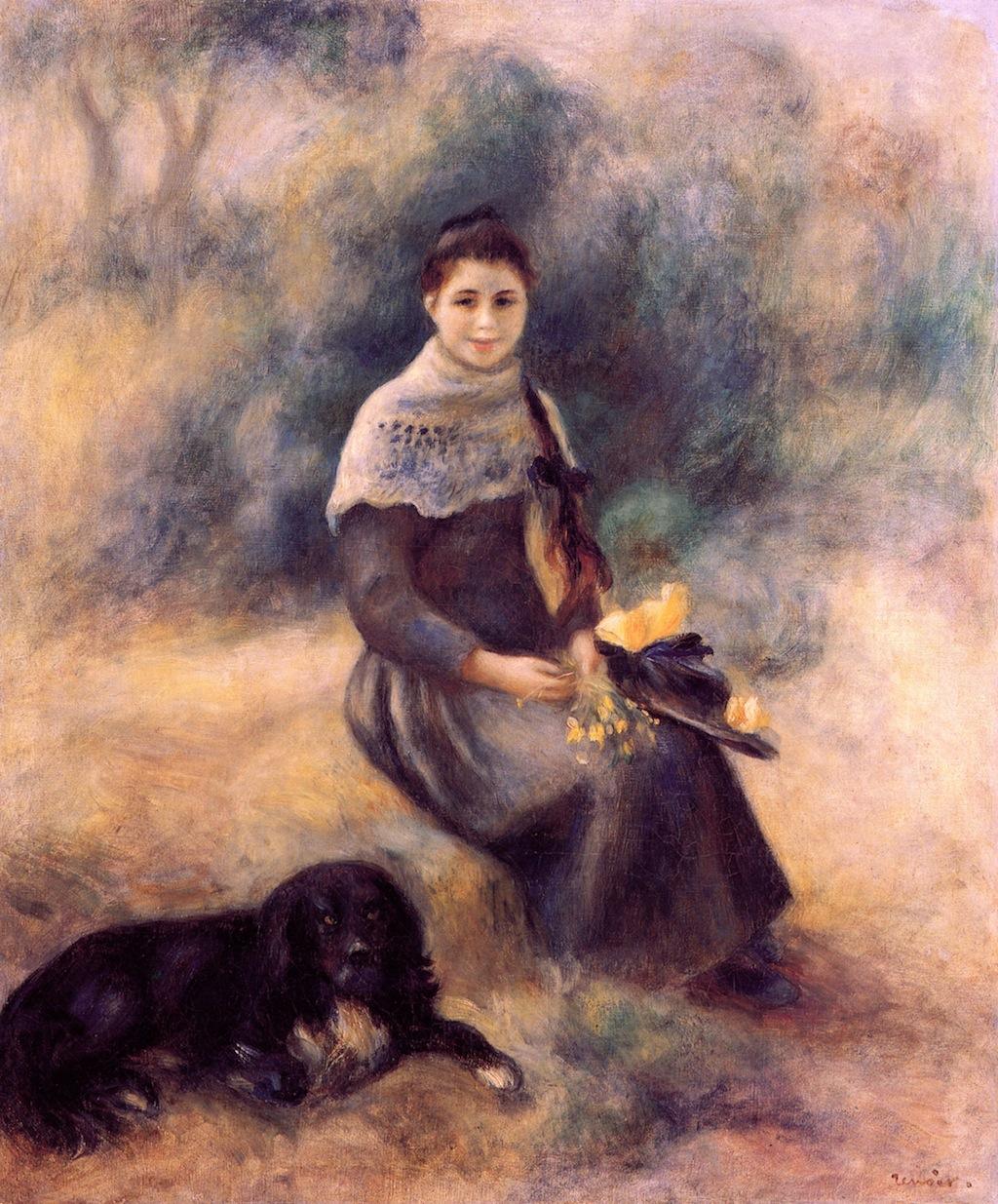 Νεαρό κορίτσι με το σκύλο της - Pierre Auguste Renoir - 1888