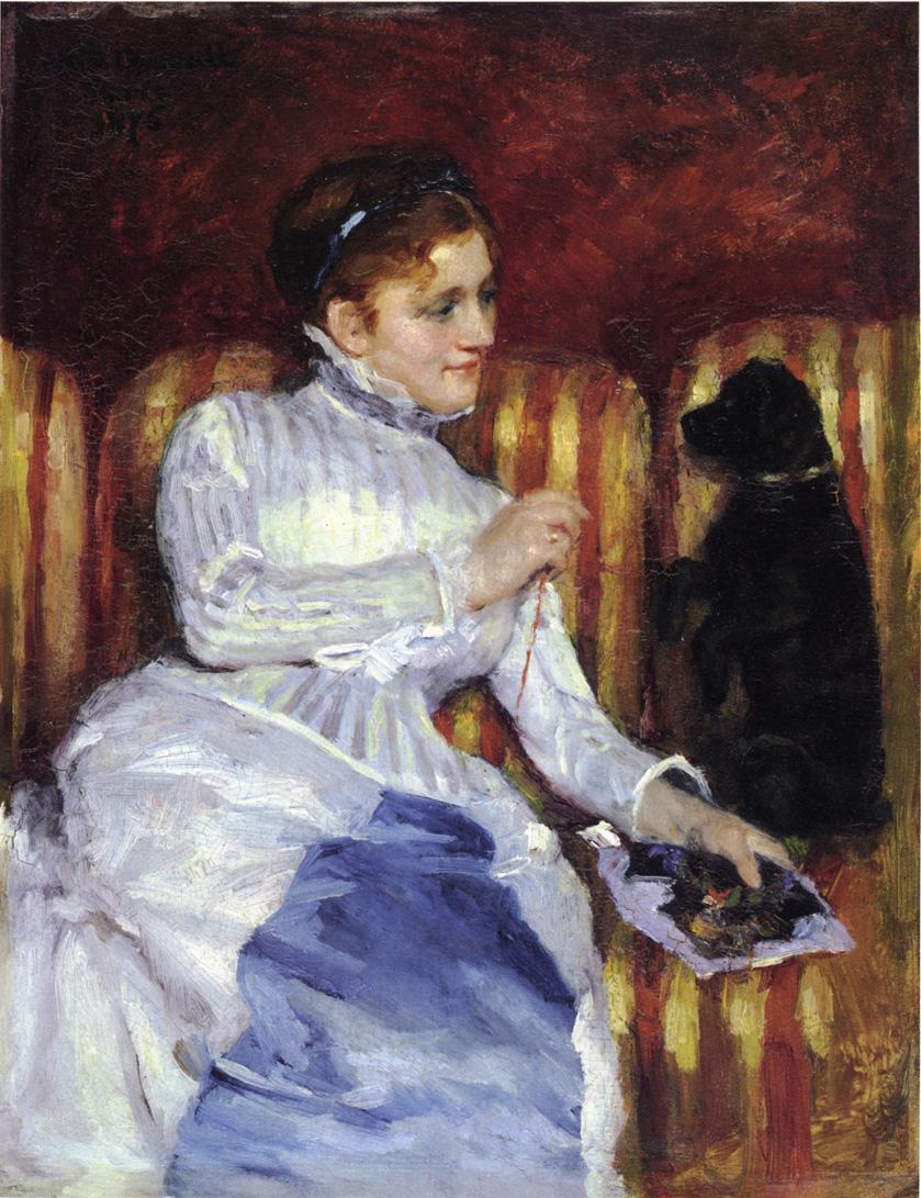 Γυναίκα σε ένα ριγέ καναπέ με ένα σκυλί Mary Cassatt - περίπου 1875
