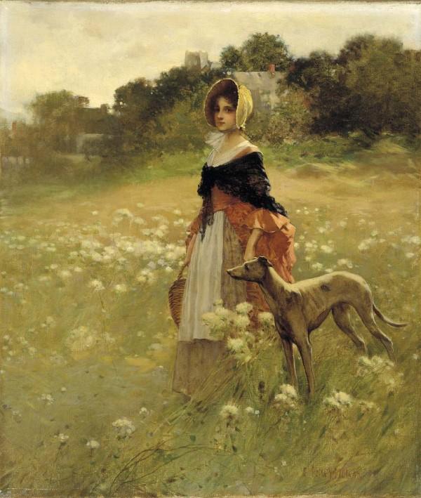 νεαρό κοπέλα με το σκύλο της Edward Percy Moran - 1890