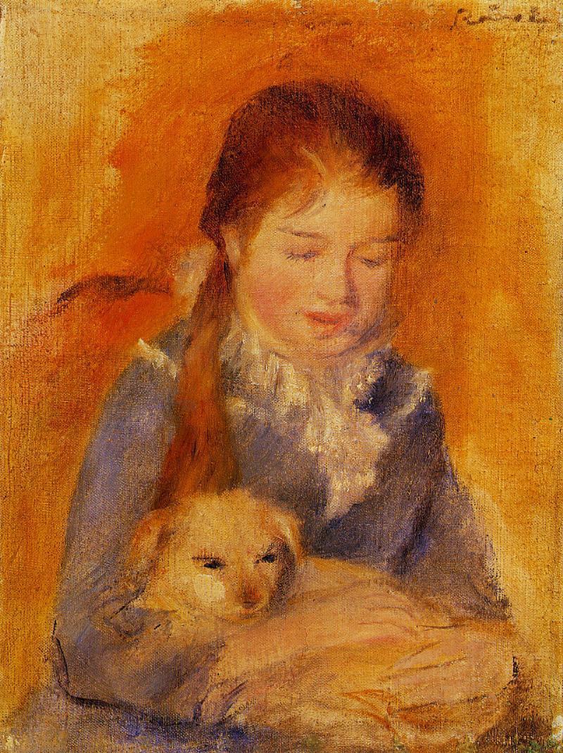 Κορίτσι με το σκύλο της Pierre Auguste Renoir - circa 1875
