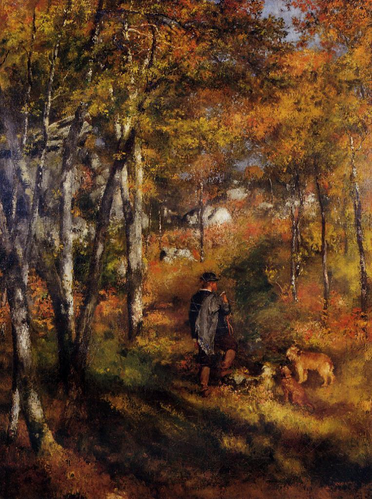 Ο ζωγράφος Jules Le Coeur περπατά με τα σκυλιά του στο δάσος του Φοντενεμπλό - Pierre Auguste Renoir - 1866