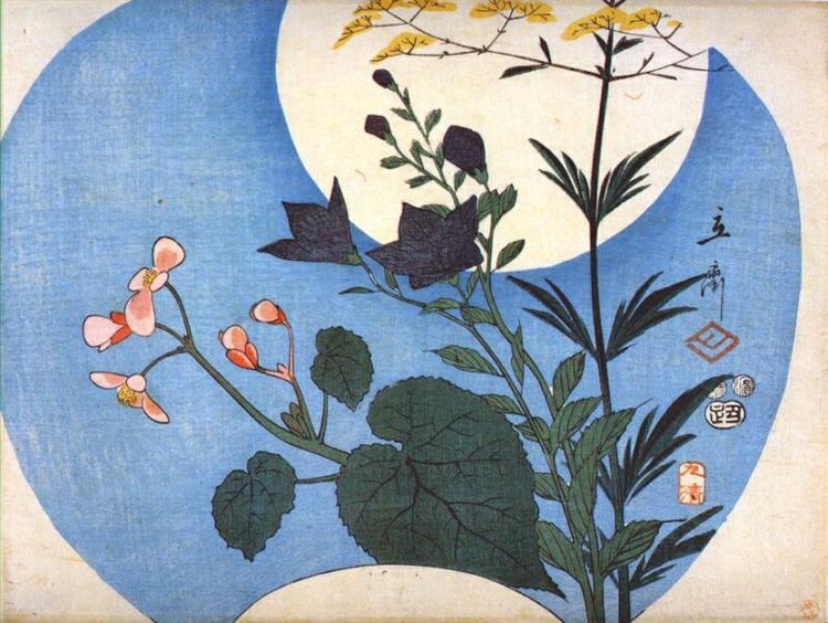 Φθινοπωρινά λουλούδια κάτω από την πανσέληνο Hiroshige 1853