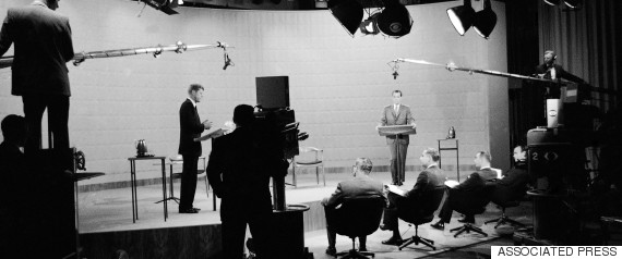 Richard M. Nixon, right, and John F. Kennedy, left, in TV studio during presidential race debate, Oct. 21, 1960 in New York. (AP Photo)