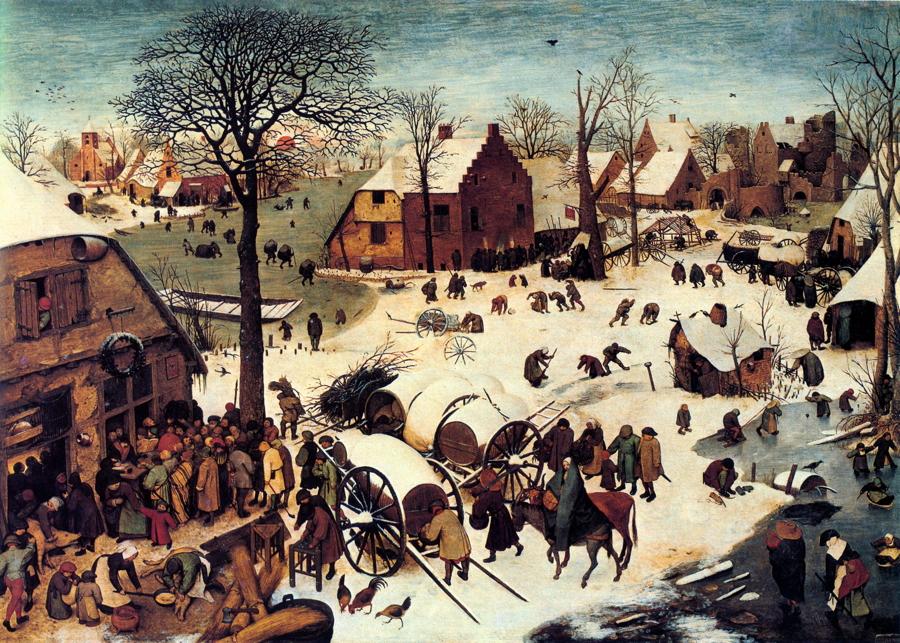 """""""Η Απογραφή του Λαού της Βηθλεέμ""""- Pieter Bruegel the Elder -1566 Αριστερά κάτω: συγκεντρωμένοι γύρω από ένα τραπέζι για να γράψουν τα ονόματά και στη συνέχεια να πληρώνουν τους φόρους τους σε έναν άνθρωπο ο οποίος γράφει τα στοιχεία τους σε ένα άλλο βιβλίο."""