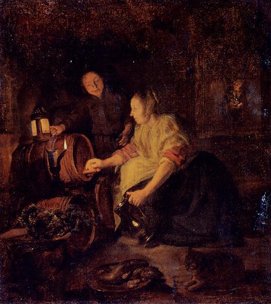 παίρνοντας κρασί από το βαρέλι - Gabriel Metsu
