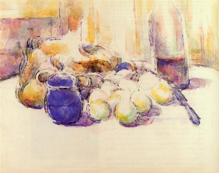 Μπλε δοχείο κι ένα μπουκάλι κρασί - Paul Cezanne 1902