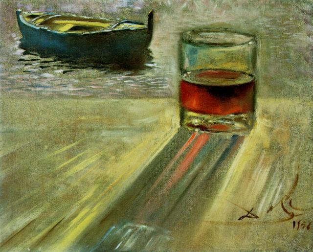 Ποτήρι κρασί και Σκάφος- Salvador Dali 1956