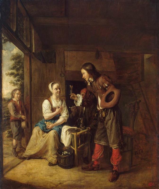 άνδρας προσφέρει ένα ποτήρι κρασί σε μια γυναίκα Pieter de Hooch 1653
